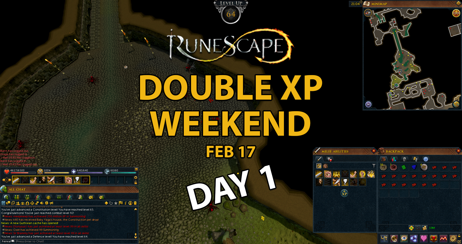 runescape double xp weekend day one blog feinraf